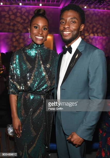 Actress Issa Rae and actor Chadwick Boseman attend 49th NAACP Image Awards After Party at Pasadena Civic Auditorium on January 15 2018 in Pasadena...
