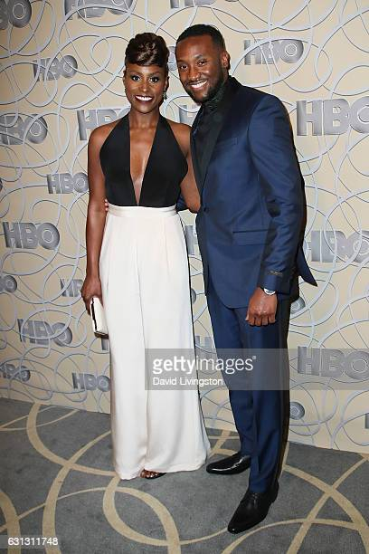 Actress Issa Rae and actor Y'Lan Noel arrive at HBO's Official Golden Globe Awards after party at the Circa 55 Restaurant on January 8 2017 in Los...