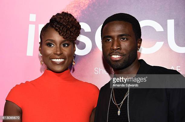 Actress Issa Rae and actor Y'Lan Noel arrive at the premiere of HBO's Insecure at the Nate Holden Performing Arts Center on October 6 2016 in Los...