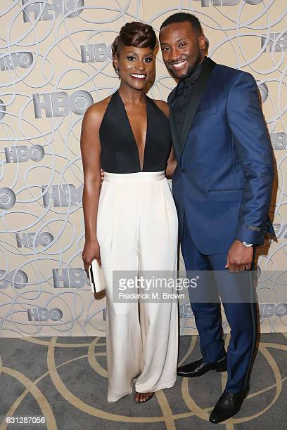 Actress Issa Rae and actor Y'Lan Noel attend HBO's Official Golden Globe Awards After Party at Circa 55 Restaurant on January 8 2017 in Beverly Hills...