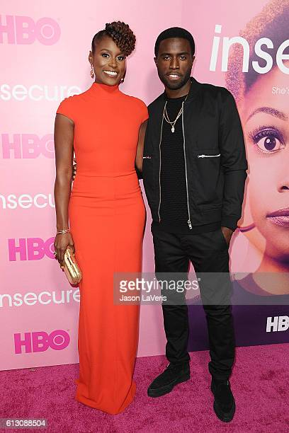 Actress Issa Rae and actor Y'lan Noel attend the premiere of Insecure at Nate Holden Performing Arts Center on October 6 2016 in Los Angeles...
