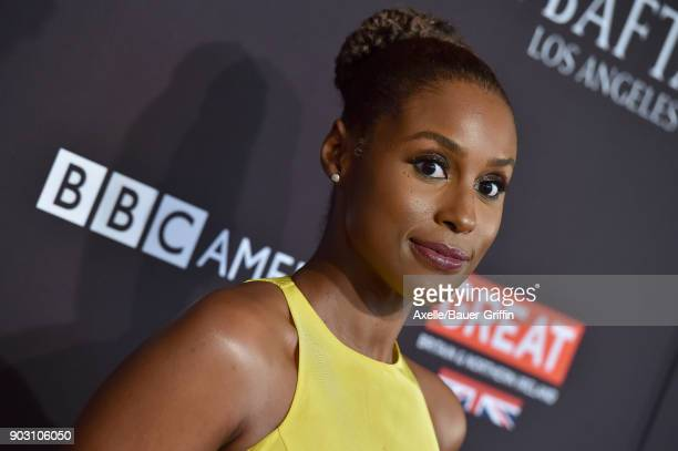 Actress Issa Rae arrives at The BAFTA Los Angeles Tea Party at Four Seasons Hotel Los Angeles at Beverly Hills on January 6 2018 in Los Angeles...
