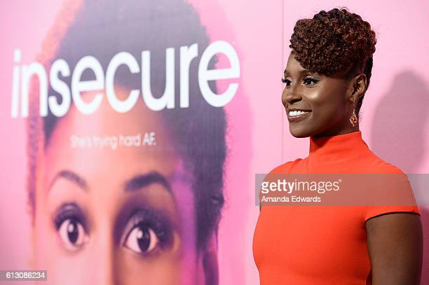 Actress Issa Rae arrives at the premiere of HBO's Insecure at the Nate Holden Performing Arts Center on October 6 2016 in Los Angeles California
