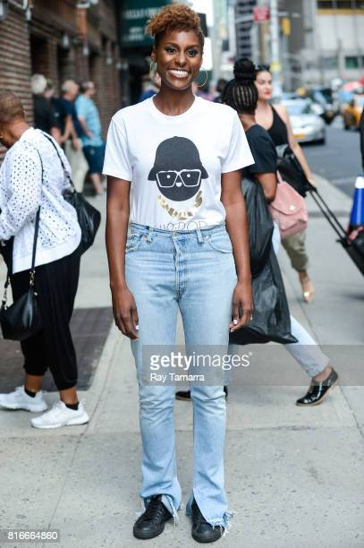 "Actress Issa Rae enters the ""The Late Show With Stephen Colbert"" taping at the Ed Sullivan Theater on July 17, 2017 in New York City."