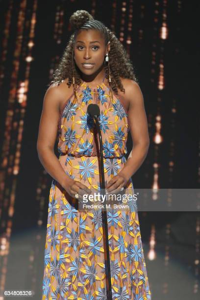 Actress Issa Rae onstage at the 48th NAACP Image Awards at Pasadena Civic Auditorium on February 11, 2017 in Pasadena, California.