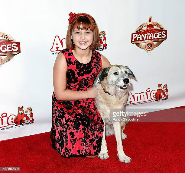 Actress Issie Swickle and Macy the dog playing Sandy attend the premiere of Annie at the Hollywood Pantages Theatre on October 13 2015 in Hollywood...