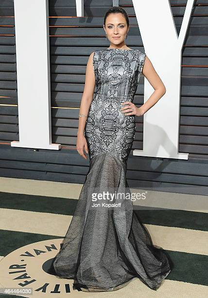 Actress Italia Ricci arrives at the 2015 Vanity Fair Oscar Party Hosted By Graydon Carter at Wallis Annenberg Center for the Performing Arts on...