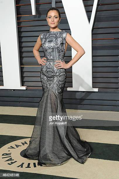Actress Italia Ricci attends the 2015 Vanity Fair Oscar Party hosted by Graydon Carter at Wallis Annenberg Center for the Performing Arts on February...