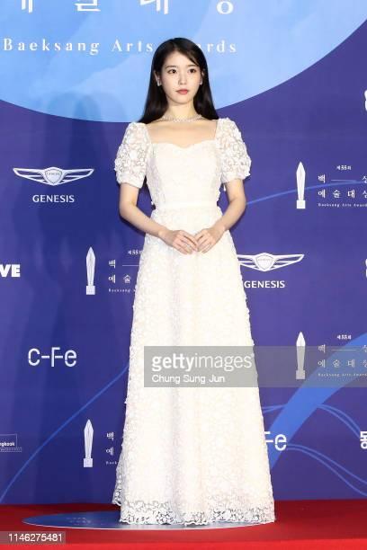 Actress IU attends the 55th Baeksang Arts Awards at COEX D Hall on May 01, 2019 in Seoul, South Korea.