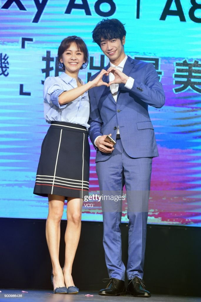 Actress Ivy Chen and actor Jasper Liu Yihao attend the launch of Samsung  Galaxy A8 on