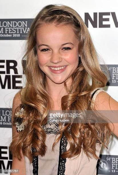 Actress Izzy MeikleSmall attends the 'Never Let Me Go' afterparty during the 54th BFI London Film Festival at Saatchi Gallery on October 13 2010 in...