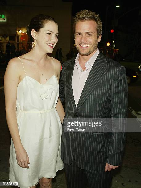 Actress Jacinda Barrett and actor Gabriel Macht arrive at the premiere of Lions Gate's A Love Song for Bobby Long at the Bruin Theatre on December 13...
