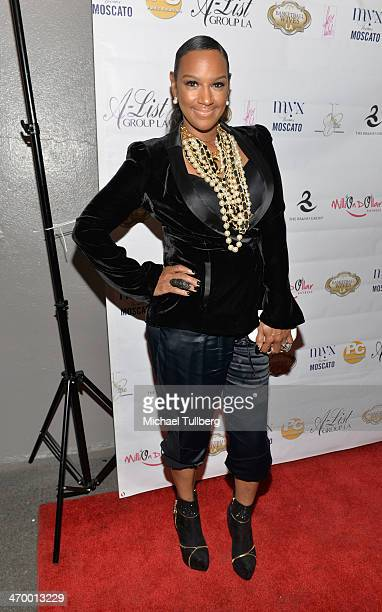 Actress Jackie Christie attends the season premiere party of the reality show Basketball Wives LA at Allure Studios on February 17 2014 in Los...