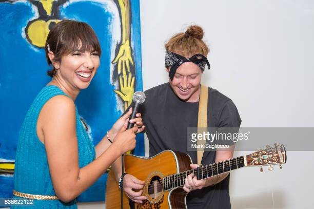 Actress Jackie Cruz and Jay Sheppard perform during Contemporary Figurative Expressionist Artist's Fernando Garcia Debut Reception at 326 Gallery on...
