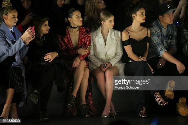 Actress Jackie Miranne a guest actresses Mia Moretti Willow Shields and Miss Universe 2016 Pia Alonzo Wurtzbach attend the Naeem Khan Fall 2016...