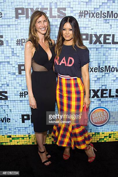 Actress Jackie Sandler and Steffiana de la Cruz attend the 'Pixels' New York premiere at Regal EWalk on July 18 2015 in New York City