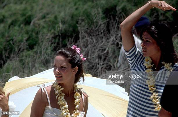 Actress Jaclyn Smith and actress Kate Jackson on the set of Charlie's Angels Season 2 Episode 1 Entitled Angels in Paradise on June 14 1977 at the...