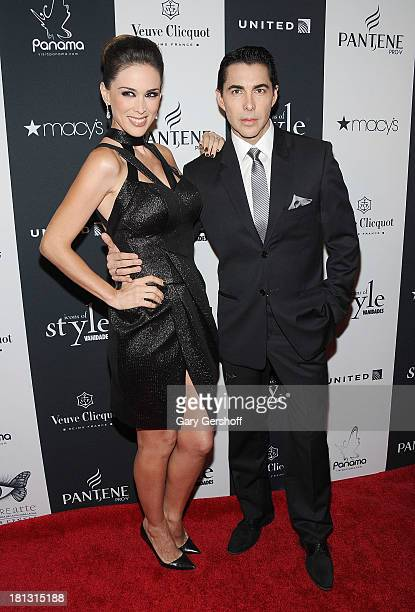 Actress Jacqeuline Bracamontes and Nicolas Felizola attend the 2013 Vanidades Icons Of Style Awards at Mandarin Oriental Hotel on September 19 2013...