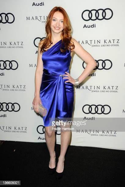 Actress Jacqueline Emerson arrives at Audi Celebrates The 2012 Golden Globe Awards at Ceconni's on January 8 2012 in West Hollywood California