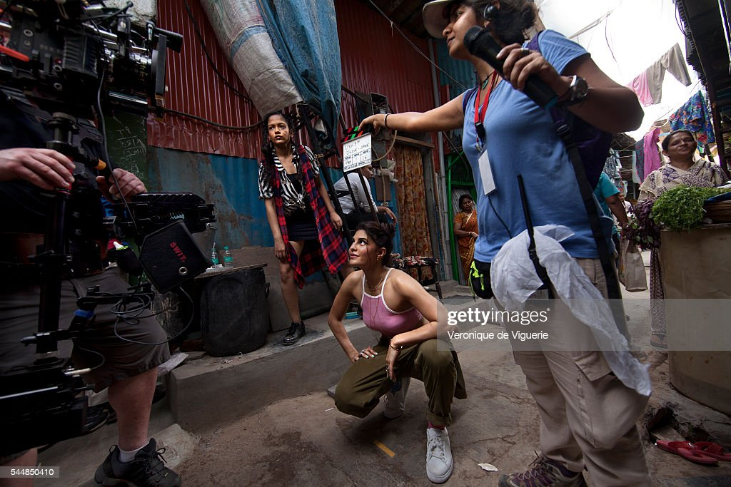 Actress Jacqueline Fernandez rehearses on the set of a video shoot directed by MJ Delaney inspired by the Spice Girls video for Wannabe for Global...