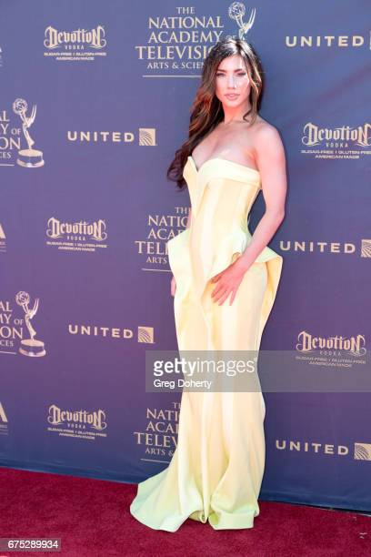 Actress Jacqueline MacInnes Wood arrives at the 44th Annual Daytime Emmy Awards at Pasadena Civic Auditorium on April 30 2017 in Pasadena California