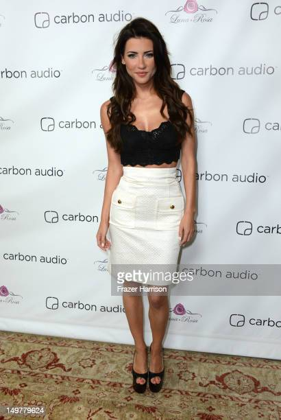 Actress Jacqueline MacInnes Wood attends the Carbon Audio's Zooka Launch Party on August 3 2012 in West Hollywood California