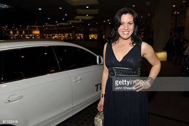 Actress Jacqueline Mazarella arrives in an Audi to the 12th Annual Costume Designers Guild Awards at The Beverly Hilton hotel on February 25, 2010 in...