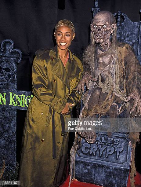 Actress Jada Pinkett and the Crypt Keeper attend the unveiling of the Crypt Keeper wax figure on January 12 1995 at the Hollywood Wax Museum in...