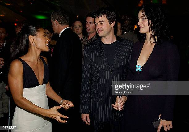 "Actress Jada Pinkett Smith, actor Steven Roy and actress Carrie-Anne Moss attend an after-party for the world premiere of the film ""Matrix..."