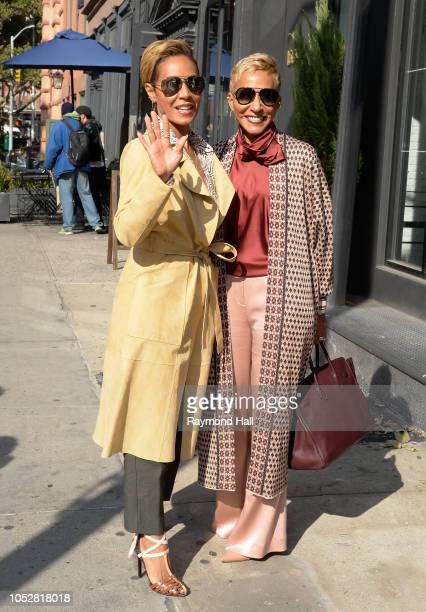 Actress Jada Pinkett Smith and Adrienne BanfieldJones are seen walking in soho on October 23 2018 in New York City
