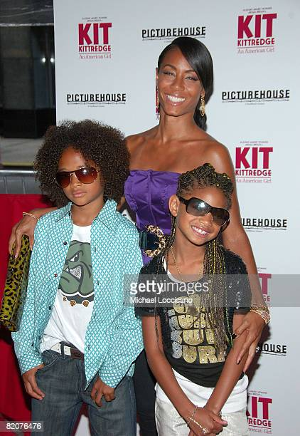 Actress Jada Pinkett Smith and children Jaden Smith and Willow Smith attend the Kit Kittredge An American Girl premiere on June 19 2008 at the...