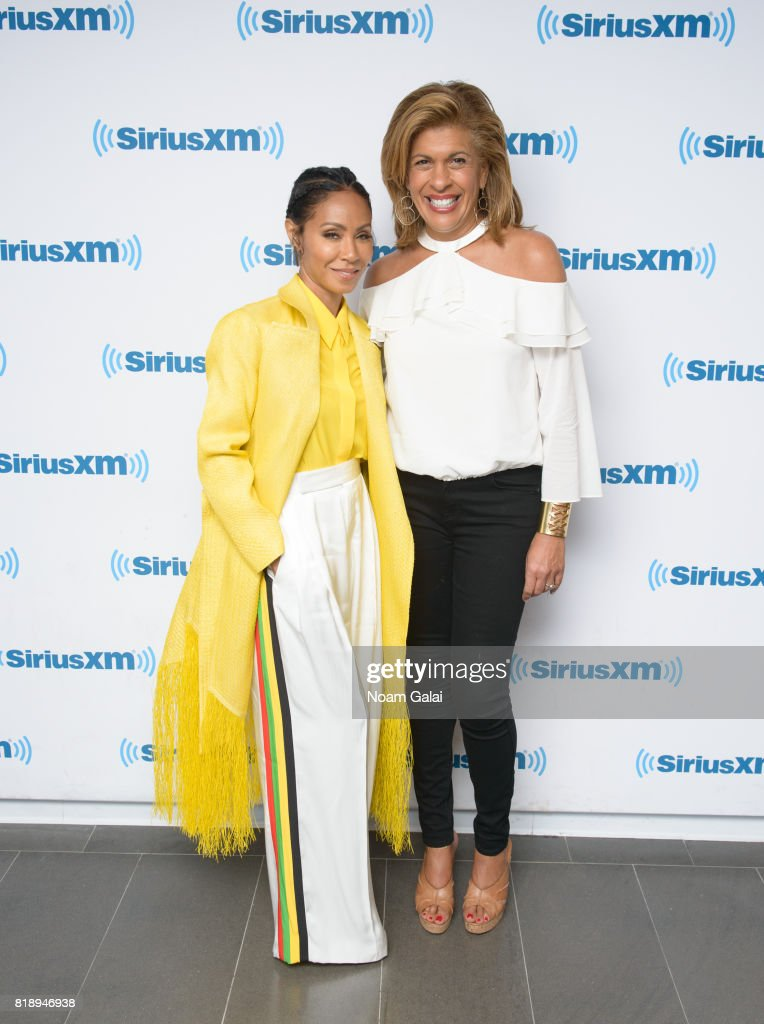 Actress Jada Pinkett Smith and Hoda Kotb visit the SiriusXM Studios on July 19, 2017 in New York City.