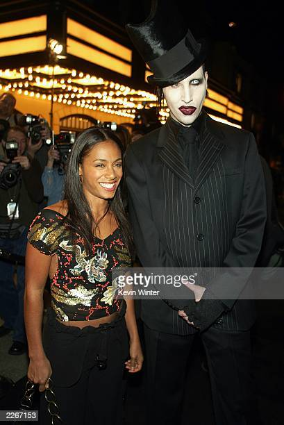 Actress Jada Pinkett Smith and rock star Marilyn Manson pose for photos at a screening of Final Flight of the Osiris a CG animated short and a party...
