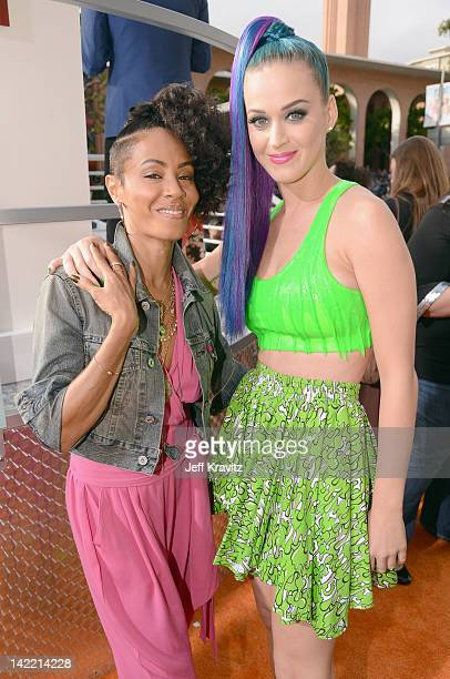 Actress Jada Pinkett Smith and singer Katy Perry arrive at the 2012 Nickelodeon's Kids' Choice Awards at Galen Center on March 31 2012 in Los Angeles...