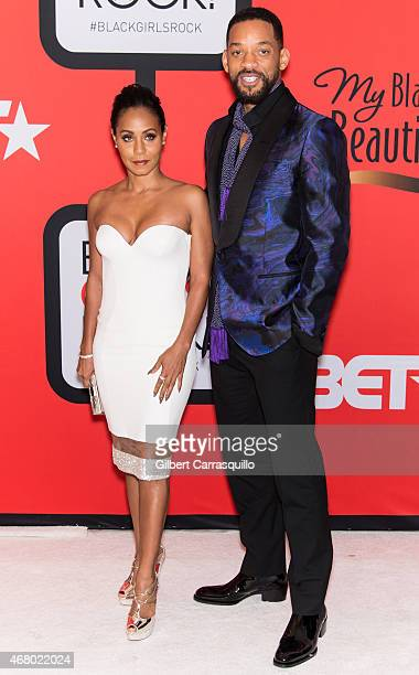 Actress Jada Pinkett Smith and Will Smith attend the BET's 'Black Girls Rock' Red Carpet at NJ Performing Arts Center on March 28 2015 in Newark New...