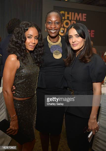 Actress Jada Pinkett Smith Hafsat Abiola and Salma Hayek Pinault PPR Corporate Foundation for Women's Dignity and Rights attend the launch of Chime...