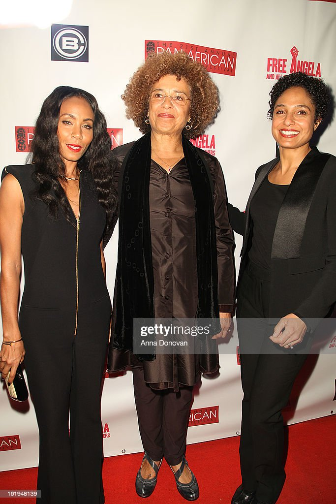 Actress Jada Pinkett Smith, political activist Angela Davis and director Shola Lynch attend the closing night at the Pan African film festival 'Free Angela And All Political Prisoners' at Rave Cinemas on February 17, 2013 in Los Angeles, California.