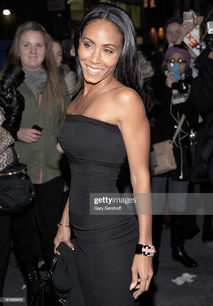 Actress Jada Pinkett Smith seen leaving Marchesa during Fall 2013 Mercedes-Benz Fashion Week at New York Public Library - Celeste Bartos on February 13, 2013 in New York City.