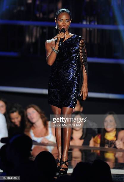 Actress Jada Pinkett Smith speaks onstage at the 2010 CMT Music Awards at the Bridgestone Arena on June 9 2010 in Nashville Tennessee
