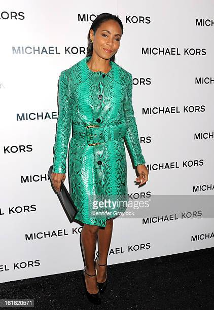 Actress Jada Pinkett Smith wearing Michael Kors arrives to the Michael Kors Fall 2013 Mercedes-Benz Fashion Show at The Theater at Lincoln Center on...