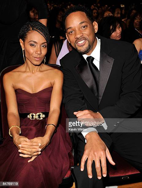 Actress Jada Pinkett Smith with husband actor Will Smith in the audience at the 40th NAACP Image Awards held at the Shrine Auditorium on February 12...