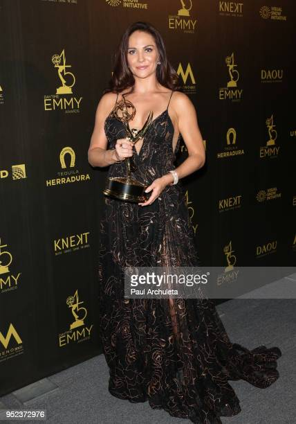 Actress Jade Harlow attends the press room at the 45th Annual Daytime Creative Arts Emmy Awards at the Pasadena Civic Auditorium on April 27 2018 in...