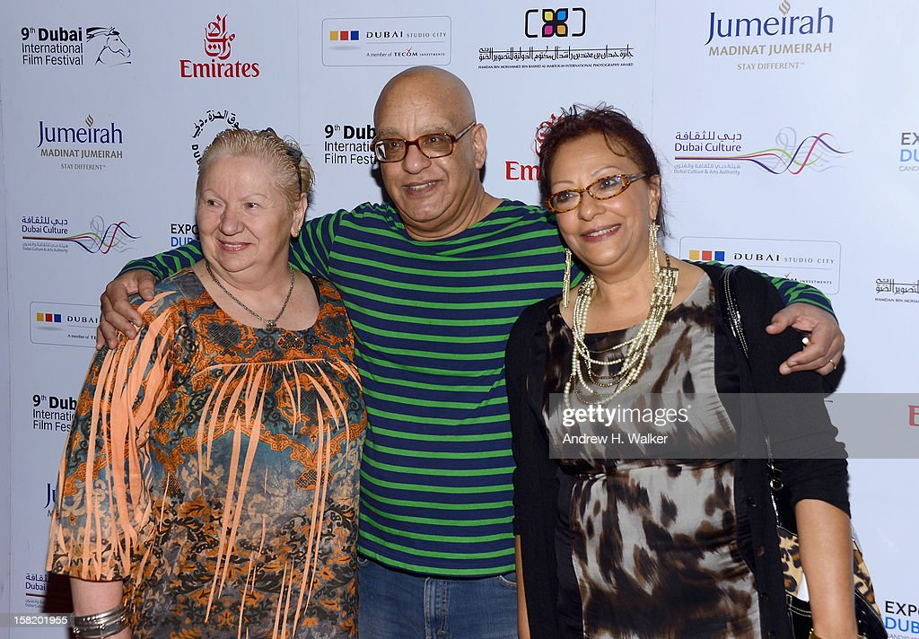 Actress Jadwiga Kowalczyk, director Khairy Beshara and actress Sanaa B Fahmy attend the 'Moondog' premiere during day three of the 9th Annual Dubai International Film Festival held at the Madinat Jumeriah Complex on December 11, 2012 in Dubai, United Arab Emirates.
