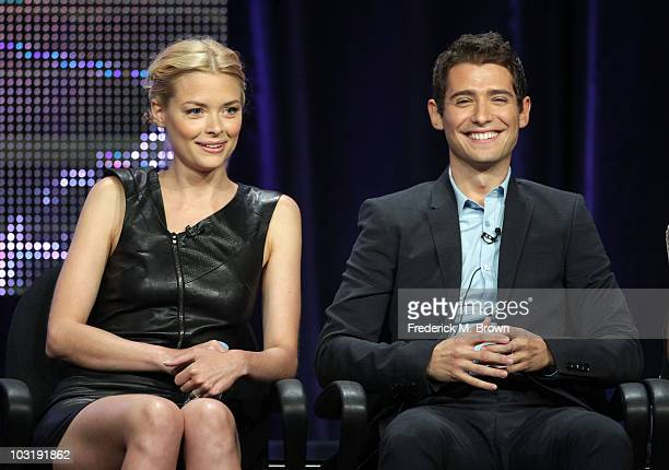 Actress Jaime King and actor Julian Morris speak onstage during the 'My Generation' panel during the summer Television Critics Association press tour...