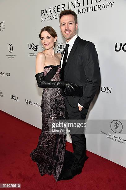 Actress Jaime King and director Kyle Newman attend the launch of the Parker Institute for Cancer Immunotherapy an unprecedented collaboration between...
