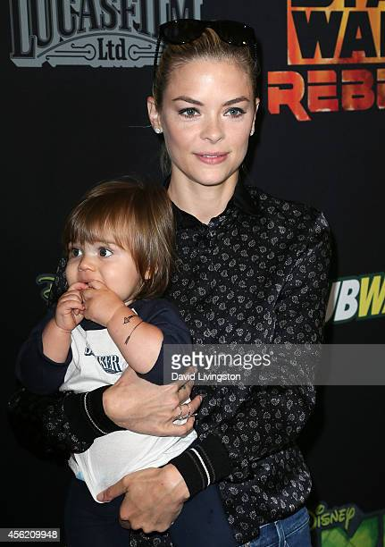 Actress Jaime King and her son James Knight Newman attend a screening of Disney XD's Star Wars Rebels Spark of Rebellion at AMC Century City 15...