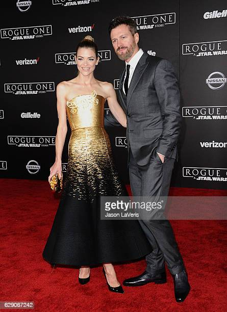 "Actress Jaime King and husband Kyle Newman attend the premiere of ""Rogue One: A Star Wars Story"" at the Pantages Theatre on December 10, 2016 in..."