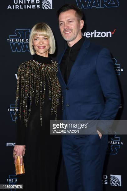 "Actress Jaime King and husband US filmmaker Kyle Newman arrive for the world premiere of Disney's ""Star Wars: Rise of Skywalker"" at the TCL Chinese..."