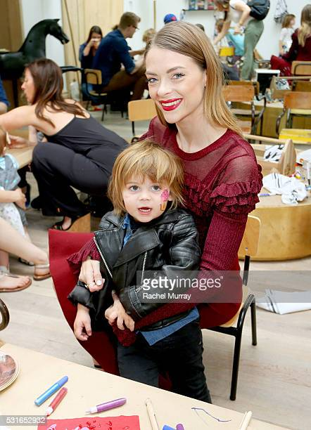 Actress Jaime King and son James Knight Newman play in the seedling craft room during the Amazon Original Series 'Tumble Leaf' season two celebration...
