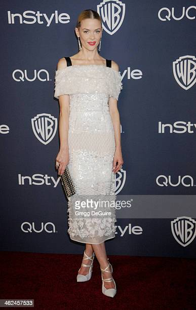 Actress Jaime King arrives at the 2014 InStyle And Warner Bros 71st Annual Golden Globe Awards postparty at The Beverly Hilton Hotel on January 12...